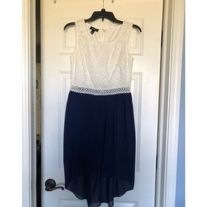 White and navy blue blue high-low dress